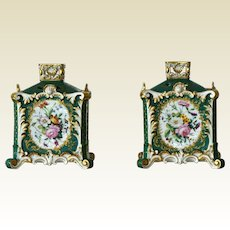 EXCEPTIONALY RARE, Jacob Petite 19th Century Pr Square Potpourri Vases with  Pierced Lids