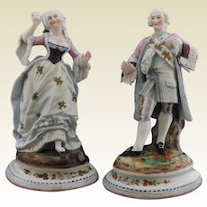 EXCEPTIONAL AND LARGE Pair of Paris Porcelain Poly Chrome Figures