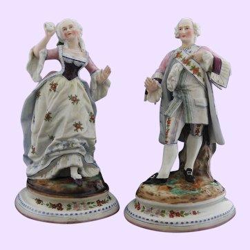 Large Pair of Antique Paris Porcelain Poly Chrome Figures