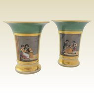 STUNNING, Pair of Paris Porcelain Hand Painted  Mantel Urns