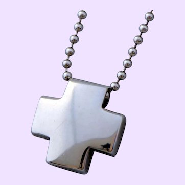 Tiffany Solid Silver Roman Cross  Necklace