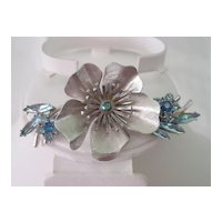 Large Blue RS Floral Pin Brooch