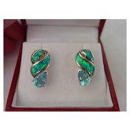 SS Blue Topaz Earrings w  Synthetic Fiery Opal Inlaid Earrings