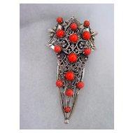 Deco Style Dress Clip w Orange Beads
