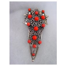 Deco Style Dress Clip w Orange Beads