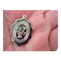SS Mother  Charm Pendant of a  Rhinestone  Floral Bouquet