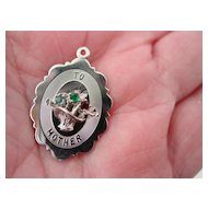 SIlver Charm Rhinestone  Floral Bouquet To Mother Charm Pendant