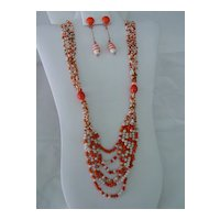 Demi Necklace and Earring set of  Orange & White Glass Beads
