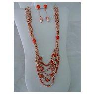Super Length Necklace w Orange & White Glass Beads & Long Dangle Earrings Set