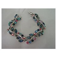 Pink & Blue Rhinestone Bracelet w Floral Branch Design