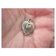 """Sterling Puffy Heart w Lock Charm """"Your Heart For Keeps"""""""