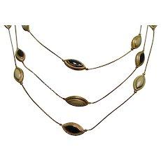 Multi 3 strand Necklace w 2 Sided Black & White Glass Stones