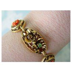 ART Bracelet w Art Nouveau Design  Panel Layered  RS & Beads