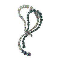 Huge Austria Brooch Pin w Ribbon Design of Twilight Blue & AB Crystals