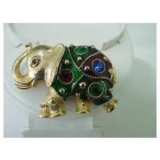 Large Elephant Pin w Big Foil Rhinestones & Multi Color Enamel