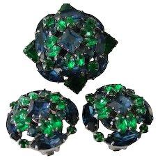 Blue & Green Rhinestone Demi Parure Pin & Earring Set