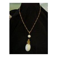 Art Nouveau Necklace w Fleur De Lis n Huge Glass Stone