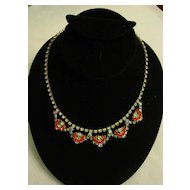 Layered Aurora Borealis and Orange w Clear Rhinestone Necklace
