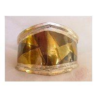 Super Wide Cuff Bracelet w 3 Metal Design