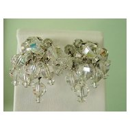 Multi Bunch Glass Crystal Balls Dangle Earrings