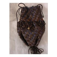 Dark Blue Knitted w Black & Copper Color Glass Beads Reticule Purse