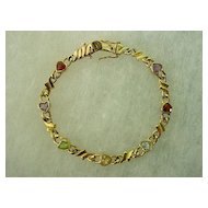 Goldtone  Sterling Silver Heart Shape Gemstones Bracelet