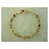 Goldtone  Sterling Silver Heart Shape Gemstones Bracelet