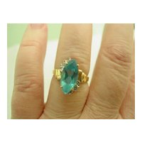 14KT YG Swizz Blue Topaz and Diamond Ring
