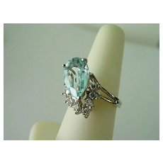 Stunning 3.5 cts. Blue Topaz w 8 Diamonds 14K Cocktail Ring