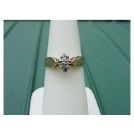 14KT YG & WG Diamond Engagement Ring