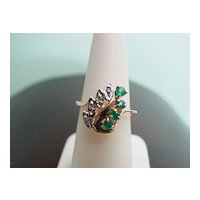 Emerald and Diamond Ring 14KT Yellow Gold