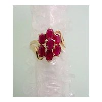 Ruby Red Ring 14KT Yellow Gold Multi Stones