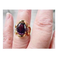 18KT High Luster 5.5 CT. Oval Cut Natural Amethyst w Diamonds Ring