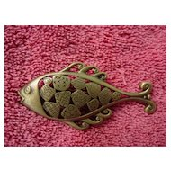 Brass Patchwork Fish Pin By  Jonette Jewelry