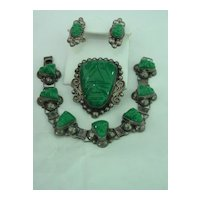 Green Onyx Mayan Aztec Mask  Mexico Parure of Pin Pendant Bracelet Earring Set