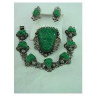 Green Onyx Mayan Aztec Mask Mexico Parure Pin Pendant Bracelet Earring Set