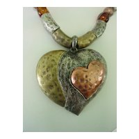 Tri Color Hammered Metal Heart Beaded Necklace