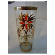 Large Hand Painted Rumania Glass Vase w Gold Trim