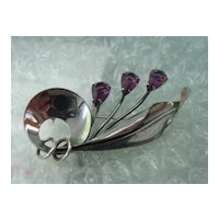 Sterling Amethyst Pin Brooch