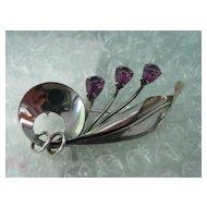 Sterling Amethyst Pin Brooch