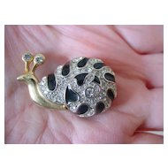 Snail Pin w Black Enamel and Rhinestones