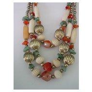 Multi Glass & Quartz Beaded 3 Strand Necklace