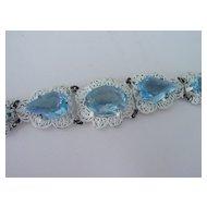 Big Blue Crystal Stone Bracelet w White Finish