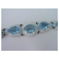 Big Blue Crystal Stone Bracelet w White Finish
