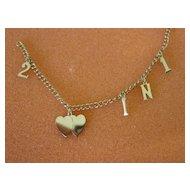 Vintage  2 Hearts in 1 Sterling Silver Charm Bracelet w Original Jewel Box