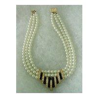 Glass Imitation Pearls w Rhinestones and Fake Onyx Glass Stone 3 strand Necklace
