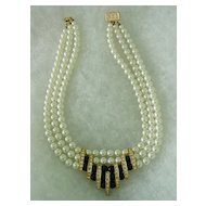 Glass Imitation Pearls w Rhinestones and Fake Onyx Glass Stone 3 strand Necklace