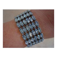 Beautiful Blue Rhinestone 6 Rows Wide Bracelet
