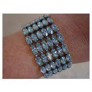Beautiful Blue Rhinestone 6 Rows Wide Bracelet