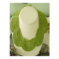 Apple Green Glass Beaded Collar Necklace w  11 Rows  Scallop Design
